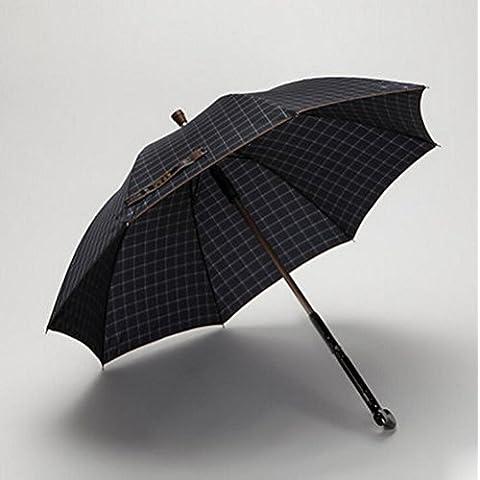 SSBY Envíe que sus padres mango paraguas de bastón, rejilla protección ULTRAVIOLETA, paraguas directo sol doble uso fino de los hombres , deep blue