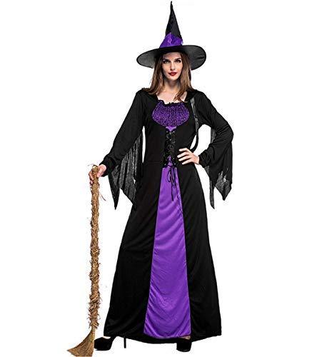 LOBTY Hexen kostüm Hexe Kostüm Kleid Party Cosplay Hooded Robe Kostüm Hexe Kostüm Fasching Karneval Kostüm - Damen Deluxe Hooded Robe Kostüm
