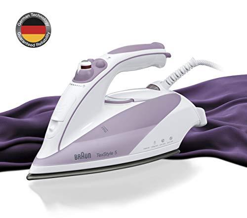 Braun TS505 - Plancha ropa vapor, 2000w, suela cerámica, suela eloxal, vapor vertical, control vapor variable, blanco y púrpura