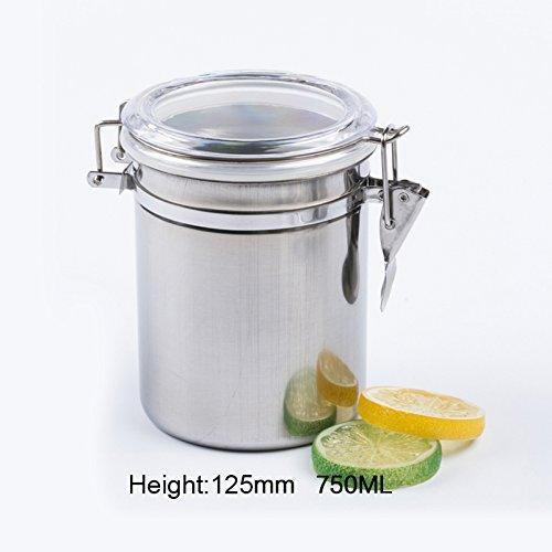lzn Edelstahl Kaffeedose Kaffee Behälter Deckel aus rostfreiem Edelstahl für Kaffee , Mehl , Zucker , Tee,etc(500/650/750/1000ML)