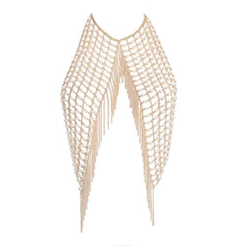 DC CLOUD Bauchkette Körperkette Kettengliederkette Geschirr goldene Brustkette Brustketten für Frauen -