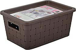 Platex Plastic Storage Basket (7 Litres, 28 cm x 20 cm x 11 cm, Dark Brown)