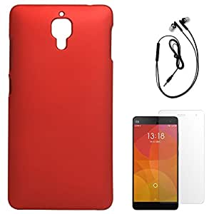 DMG Protective Hard Back Cover Case For Xiaomi Mi4 (Red) + Black Earphones + Matte Screen