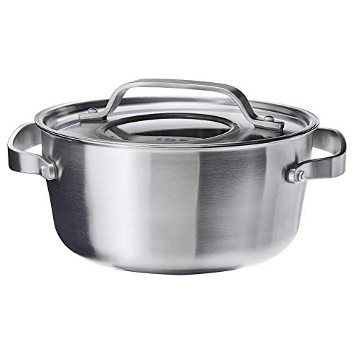 Sensuell pentola con coperchio, in acciaio INOX, colore: grigio