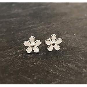 1 Paar Blumen Ohrstecker 925 Sterling-silber weiß Mädchen/Damen Ohrringe Blüten Kinder klein hypoallergen echt silber Emaille glänzend edel süß