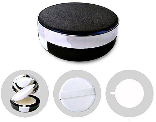 Noir vide Portable Coussin d'air Puff Container Coiffeuse Coque Houppette Boîte avec éponge et miroir pour BB CC liquide Fond de teint crème