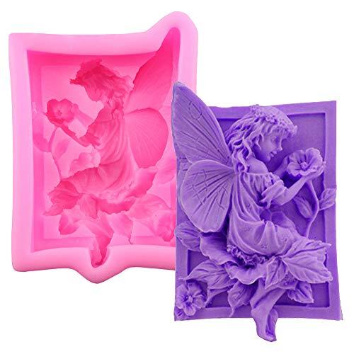 s mädchen form blume silikon seife kuchenform diy gelee süßigkeiten backen werkzeug Rosa ()