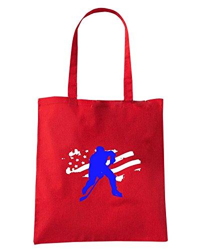 T-Shirtshock - Borsa Shopping OLDENG00758 hockey usa Rosso
