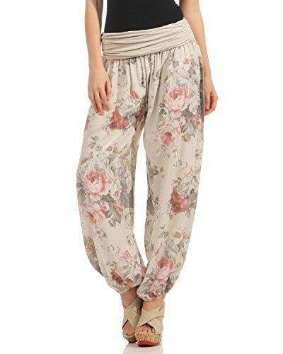 ZARMEXX Damen Pumphose Pluderhose Harem-Stil Sommerhose all over Print Freizeithose Aladinhose Hose One Size