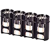 Storacell By Powerpax SlimLine C Battery Caddy, Black, Holds 4 Batteries