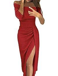 40781ffc2e5e Vestiti Donna Abito Retro Eleganti Spalle Scoperte Abito con Paillettes A  Fessura Pacchetto Hip Vestito Sottile