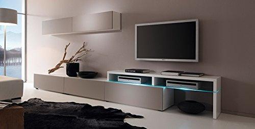 Anbauwand 5-tlg. CS Schmal Weiß und Congo-Grau, bestehend aus 2 Hängeregalen, 2 TV- Schränken mit insgesamt 3 Schubladen, 1 TV-Glasteil mit Fächern