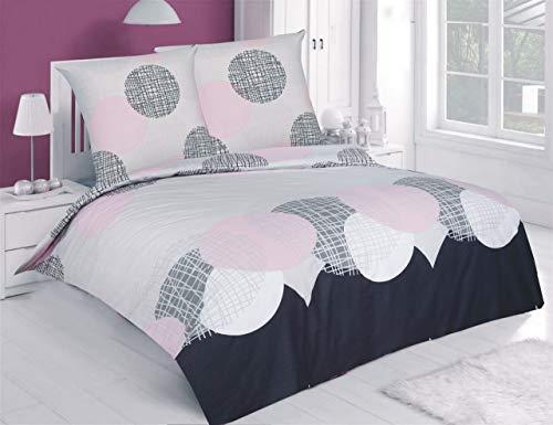 Buymax Bettwäsche-Set 3 Teilig, Renforce-Baumwolle, Reißverschluss, 200x200 cm, Grau Rose, Kreise Ornamente