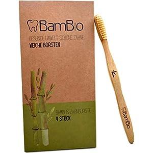 Bambus Zahnbürsten für Erwachsene | Weiche Borsten | 4er Set Bambus Zahnbürste | Ökologische Bambuszahnbürsten | Nachhaltige Bio Holzzahnbürste für eine gesunde Umwelt