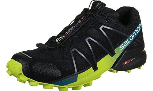 Salomon Speedcross 4, Scarpe da Trail Running Uomo, Nero (Black/Everglade/Sulphur Spring), 46 2/3 EU
