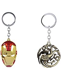 Gratitude Combo Of Iron Man Face Mask Avengers & Game Of Thrones Hear Me Roar Golden Metallic Keyring Key Chains