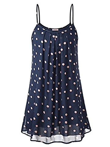 WAJAT Damen Spaghetti Chiffonkleid Blumen Sommer Minikleid Strand A-Linie Blau Dots L