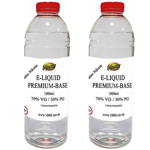 E Liquid Base 2 x 1L / 2 Liter 2000ml PUR Vape OHNE Nikotin 2 x 1000 ml (70VG/30PG)