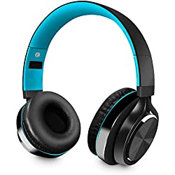 Alitoo Auriculares Bluetooth de Diadema Inalámbricos, Cascos Bluetooth Plegable Hi-Fi Sonido Estéreo(Negro&Azul)