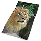 FGRYGF Tropical Forest Lion Headband Unisex Headband Use as Headwear, Mask, Bandana, Neckwarmer, or Scarf Neckerchief Microfiber Hairband Unique Headdress Scrunchie Face Mask Neck Gaiter