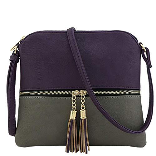 TianWlio Frauen Handtasche Leder Quaste Umhängetasche Hit Farbe Umhängetaschen Umhängetasche ich