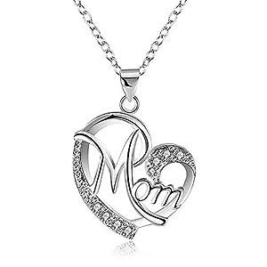 Regali Festa della Mamma, Deesos Collana miglior regalo per il compleanno della mamma cuore diamante collana pendente per la mamma compleanno Argento 10 spesavip