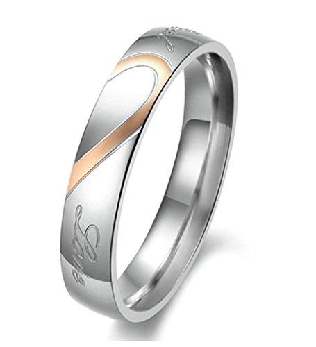 Xiangling puzzle di gioielli in acciaio inossidabile amante cuore da uomo donna real love fedi nuziali, anelli collana e da donna, 11,5, colore: rose gold, cod. 36jw387xy