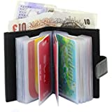 Genuine Soft Black Leather Credit Card Holder Wallet - 20 clear plastic pockets - 4 Further Card Slots- BLACK (WITH NOTE COMPARTMENT)
