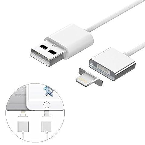 thanly 1,2m Câble Lightning 8broches | magnétique aimant USB Câble de chargement pour iPhone 55S 5C 66S Plus iPad 4Air Pro/Mini/iPod Touch 5e génération/iPod Nano 7e génération [pour charge, pas pour synchronisation de données]