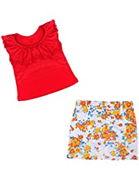 SMARTLADY Verano Niñas Tops + Falda de flores
