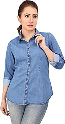 Cozami Women's Solid Casual Long Sleeves Denim Light Blue Shirt
