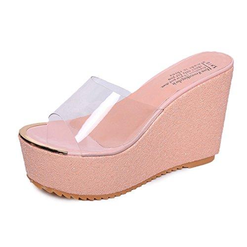 Vovotrade Femmes Été Slope Avec Flip Flops Sandales Mocassins Chaussures transparent Mode Rose