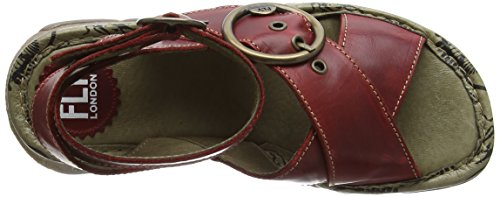 FLY London TUBB609FLY, Sandales Compensées femme Rouge - Rouge