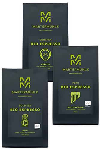 BIO Espresso Probierset 3x 250g - Espresso Bohnen Von Der Kaffeerösterei Martermühle: Ganze Espresso Bohnen - Von Hand Geröstete Bohnen: Espressobohnen Säurearm Und Mild.