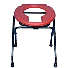 Brazos Folding Elderly Disabled Men and Pregnant Women Iron Shower Commode Chair with Toilet Seat