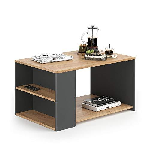 Vicco Couchtisch Dario - Wohnzimmer Sofatisch Kaffeetisch 3 Farbvarianten Beistelltisch 90 x 60 cm - mit Ablagefächern - Top Design (Anthrazit/Sandeiche) -