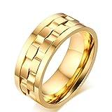 JAJAFOOK 9mm Damen Herren Edelstahl Brick Double Gear Spinner Ring für Hochzeit Band