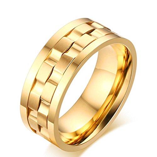 JAJAFOOK 9mm Damen Herren Edelstahl Brick Double Gear Spinner Ring für Hochzeit Band (Spinning Ring Gear)