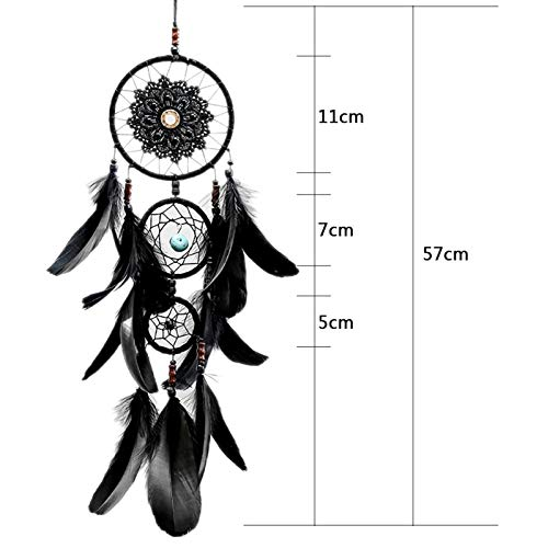 akeansa Große natürliche Feder schwarzer Farbe Lace Dreamcatcher Windspiele hängende Dekoration Dream Catcher Home Decor   hellgrau (Decor Catcher Home Dream)