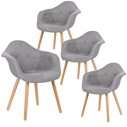 EUGAD 4er Set Esszimmerstühle Esszimmerstuhl Polsterstuhl mit Massivholz Beine,Essstuhl mit Arm- und Rücklehne, der Sitz aus Leinen, BH55gr-4, Grau