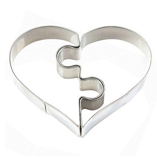 Di alta qualità torta cuore-form - 2 pezzi puzzle - per torta o come biscotto form - in acciaio inox