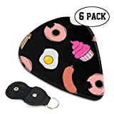 Christmas Food Doughnut Celluloid Guitar Picks Premium Picks 6 Pack for Guitar,Mandolin,and Bass 0.46mm, 0.71mm, 0.96mm Optional with PU Leather Pick Holder(0.71mm)