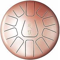 Tambor de Lengua Acero Tambor de Mano 10 pulgadas 11 notas de instrumento de percusión de percusión manual con bolsa de viaje acolchada y regalo perfecto para la meditación personal,yoga, tratamiento de sonido Oro rosa