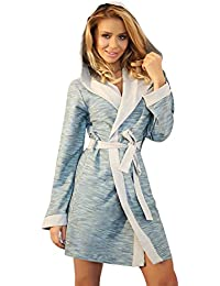 Wanmar Company Womens Warm Hooded Housecoat Short Dressing Gown Cotton Soft Bathrobe  Robe 1a8d7e7b1