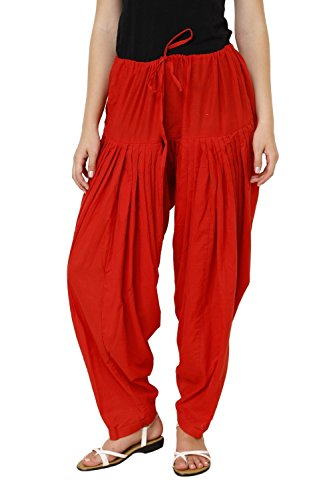 Pistaa'S Women's Cotton Semi Patiala (ASPSRED_Red_Free Size)