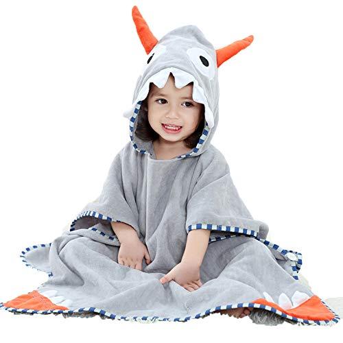 ZMH Kids 100% Cartoon Hooded Bath Swimming Towel für 1-7 Jahre altes Kind, Breathable Warm Cute Bathrobes Animal Printed Baby Boys Girls Beach Handtuch,Greyhorn (Cute Boy Kostüme)