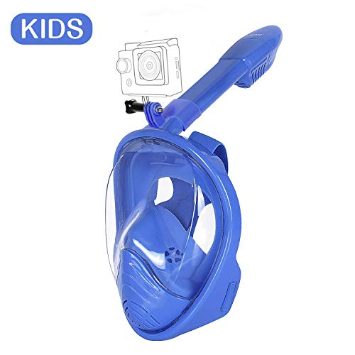 Unigear Máscara Buceo 180° Vista Facial Completa Tubo Plegable+Soporte Cámara (Azul, para niño)