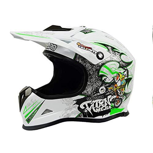 ETH Offroad Helm Motorrad Offroad Helm Road Rallye Helm Outdoor Rennhelm Mountainbike Helm - Persönlichkeit Muster - weiß/grün - groß Qualität (Size : L)