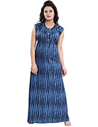 TUCUTE® Women Cotton Fabric Beautiful Print Sleeveless Nighty Night Gown Night  Dress ( 166c47344