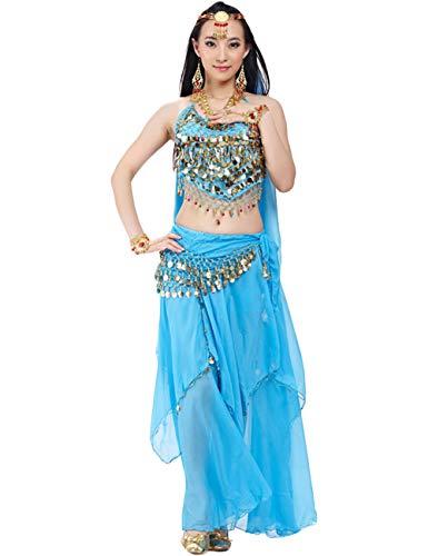 Bauchtanz Kostüm Bellyqueen - G-like BellyQueen Tanz Kostüm Bauchtanz Kleid - Orientalischer Tanz Arabisch Sexy Professionelle Farbenreiche Kleidung Set Outfit für Tänzerin Damen - Chiffon - 5 Stück (See blau)